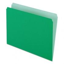 Two-Tone File Folders, Straight Cut, Top Tab, Letter, Green/Light Green, 100/Box