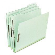 "Pressboard Folders with Two 1"" Capacity Fasteners, Letter, Green, 25/Box"