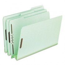 "Pressboard Folders with Two 3"" Capacity Fasteners, Legal, Green, 25/Box"