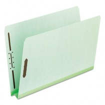 "Pressboard Folders with Two 2"" Capacity Fasteners, Legal, Green, 25/Box"
