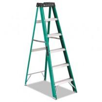 #592 Six-Foot Folding Fiberglass Step Ladder, Green/Black/Yellow