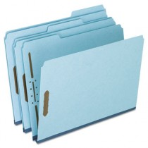 Two-Fastener Pressboard Expanding Folder with 1/3 Cut Tab, Letter, Blue, 25/Box