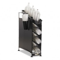 Wireworks Cup Dispenser and Lid Organizer, 3-Tier, Holds 270 Cups, Metal, Black