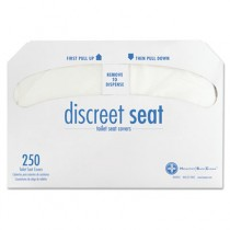 Discreet Half-Fold Toilet Seat Covers, White, 250/Pack