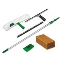 Pro Window Cleaning Kit w/8-ft. Pole, Scrubber, Squeegee, Scraper, Sponge