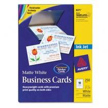 Inkjet Matte Business Cards, 2 x 3 1/2, White, 10/Sheet, 250/Pack