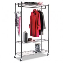 Wire Shelving Garment Rack, Coat Rack, Stand Alone Rack, Black Steel w/ Casters