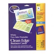 Inkjet Matte Business Cards, 2 x 3 1/2, White, 10/Sheet, 200/Pack