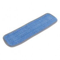 Microfiber Mop Head, Blue, 18 x 5, 100% Split Microfiber, Velcro Backing