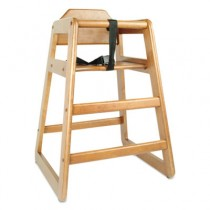 High Chair with Harness, Walnut, 1 each
