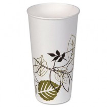 Pathways Polycoated Paper Cold Cups, 21 oz, White/Brown/Green