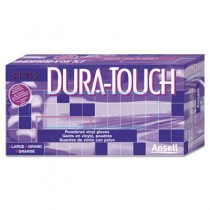 Dura-Touch PVC Powdered Gloves, Clear, Large, 100/Box