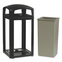 Landmark Series Classic Dome Top Container, Plastic, 50 gal, Sable