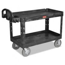 Heavy-Duty Utility Cart, 750-lb Cap., 2 Shelves, 25 1/4 x 54 x 43 1/8, Black