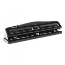 "12-Sheet Deluxe Two- and Three-Hole Adjustable Punch, 9/32"" Holes, Black"
