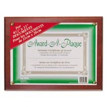 Award-A-Plaque Document Holder, Acrylic/Plastic, 10-1/2 x 13, Mahogany
