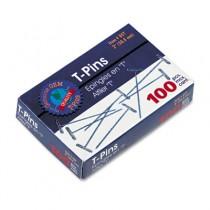 """T-Pins, Steel, Silver, 2"""", 100/Box"""
