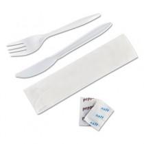 """Wrapped Cutlery Kit, 6 1/4"""", Fork/Knife/Napkin/Salt/Pepper, White"""