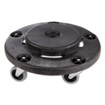 Brute Round Twist On/Off Dolly, 250lb Cap, 18dia x 6 5/8h, Black