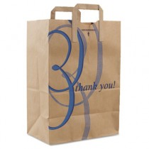 "Stock Thank You Handle Bags, 12""w x 7""d x 17""h, Brown Kraft"