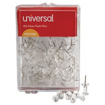 """Colored Push Pins, Plastic, Clear, 3/8"""", 100/Pack"""