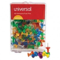 "Colored Push Pins, Plastic, Gemstone, 3/8"", 100/Pack"