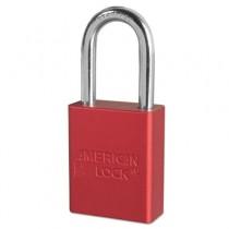 """Solid Aluminum Padlocks, 1 1/2"""" Wide, Red, 2 Keys"""