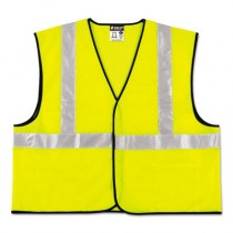Class 2 Safety Vest, Lime Green w/Silver Stripe, Polyester, 4XL