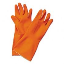 Flock-Lined Latex Cleaning Gloves, Medium, Orange