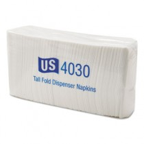 Tallfold Dispenser Napkins, 1-Ply, 7 x 13 1/2, White