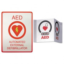 AED Wall Sign Package, 8 1/2 x 11, White/Red