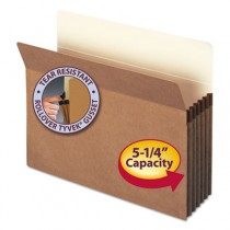 5 1/4 Inch Expansion File Pocket, Straight Tab, Letter, Manila/Redrope, 50/Box
