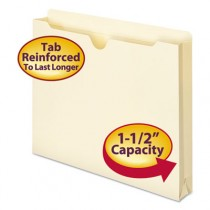Double-Ply File Jacket, 1 1/2 Inch Expansion, Letter, 11 Point Manila, 50/Box