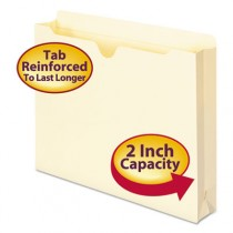 Double-Ply Top File Jackets, Two Inch Expansion, Letter, 11 Point Manila, 50/Box