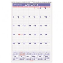 "Recycled Monthly Wall Calendar, Blue and Red,15 1/2"" x 22 3/4"", 2013"