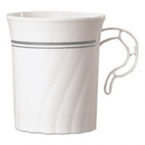Classicware Plastic Coffee Mugs, 8 oz., Silver, 8/Pack