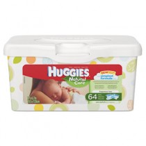 HUGGIES Natural Care Baby Wipes, Unscented, White, 64/Tub