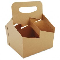 Automatic Drink Carrier With Handle, 4-Cup, Kraft, 7 x 7 x 9