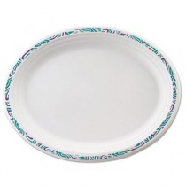 Classic Paper Platters, 9 3/4 x 12 1/2, White with Festival Rim, Oval, 125/Pack