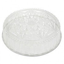 Round CaterWare Dome-Style Food Container Lids, 1-Comp, Clear, 18dia