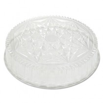 Round CaterWare Dome-Style Food Container Lids, 1-Comp, Clear, 16dia