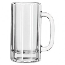 Glass Mugs & Tankards, 12 oz, Clear, Paneled Beer Mug