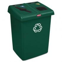 Glutton Recycling Station, Rectangular, 2-Stream, 46 Gal, Green