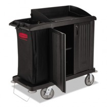 Multi-Shelf Cleaning Cart, 3 Shelves, 22w x 49d x 50h, Black