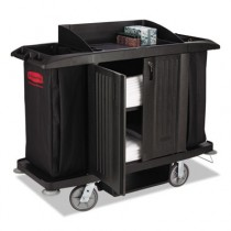 Full-Size Housekeeping Cart, 3 Shelves, 22w x 60d x 50h, Black