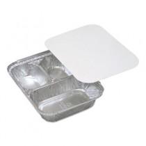 Aluminum Food Trays, 3-Compartment, 8w x 8d x 1 1/2h