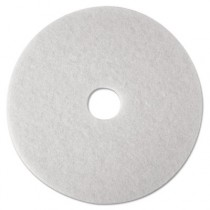 "White Super Polish Floor Pads 4100, Polishing, 27"" Diameter, White"