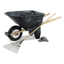 Wheelbarrow, 6.5 cu ft, 200lb Cap, 27w x 60d x 27 1/2h, Plastic/Wood, Black