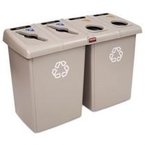 Glutton Recycling Station, Rectangular, 4-Stream, 92 Gal, Beige