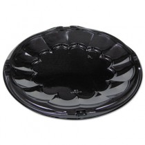 Round SmartLock CaterWare Trays, 1-Comp, Black, 12dia